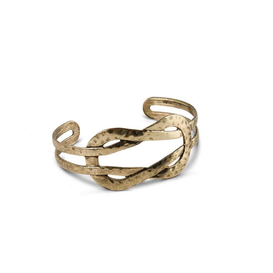 K&K Interiors Gold Hammer Twisted Cuff Bracelet