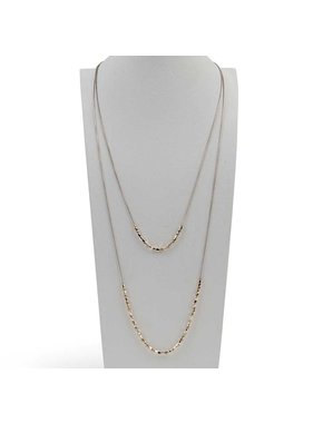 K&K Interiors Tri Metal Mini Nuggets Double Necklace