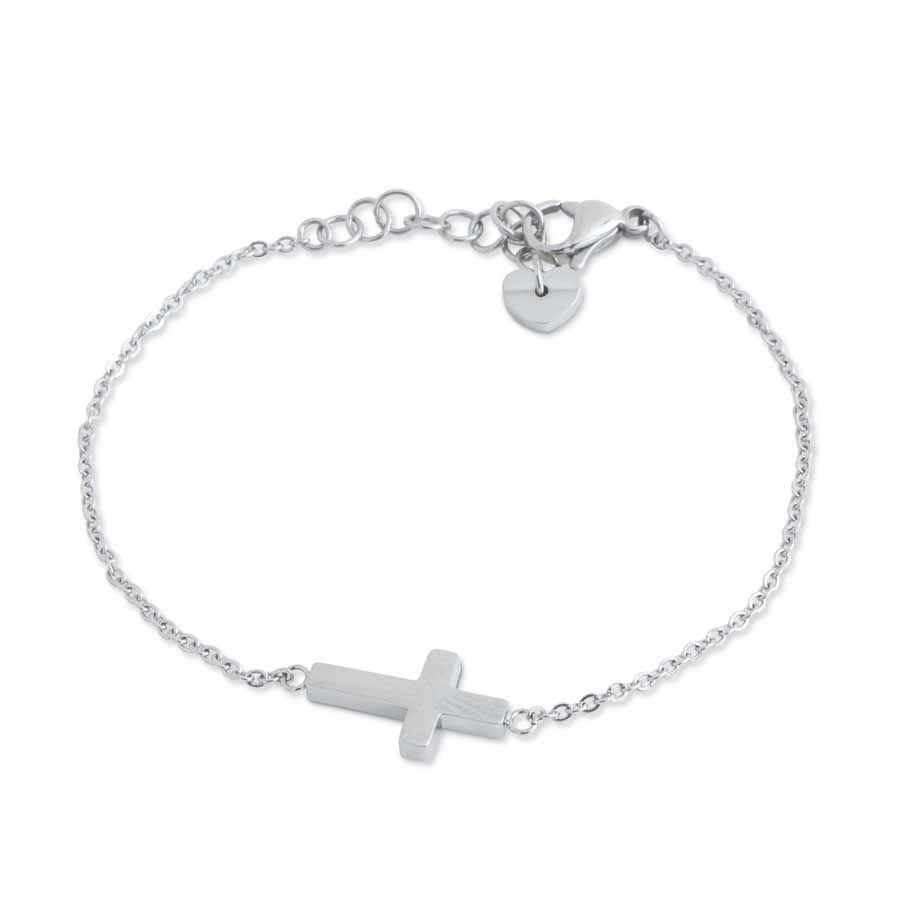 K&K Interiors Stainless Steel Side Cross Adjustable Bracelet