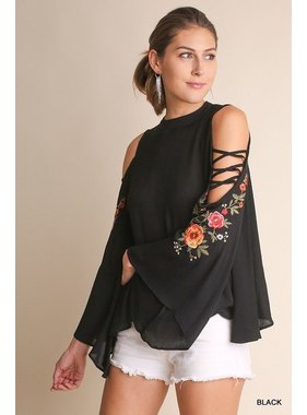 Umgee Floral Embroidered Bell Slv Top