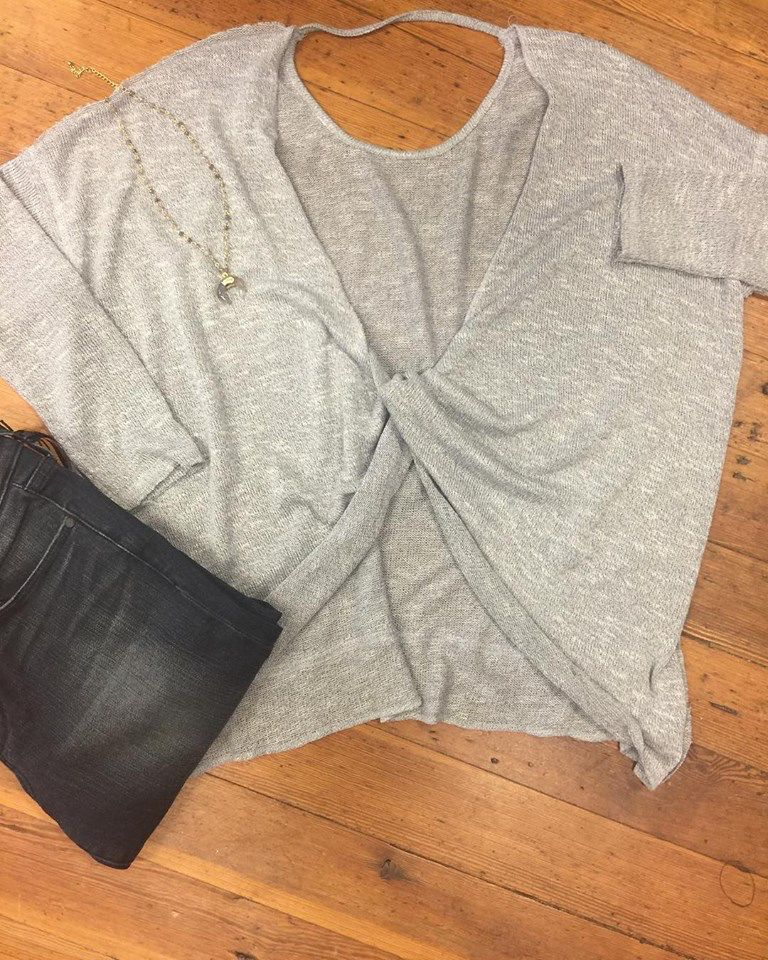 She + Sky Long Sleeve Pullover Top With Twisted Open Back