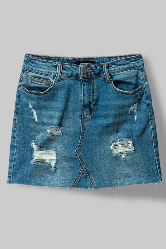 Trend:Notes Distressed Denim Skirt