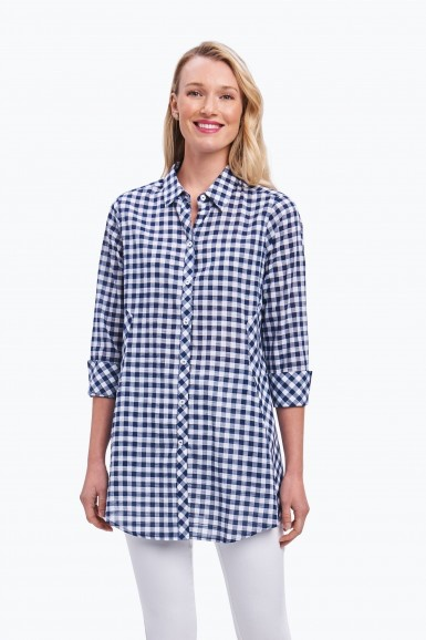 Foxcroft Cici Tunic in Slub Gingham by Foxcroft