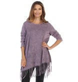 Jess & Jane Mineral Washed Fringe Top in Amethyst