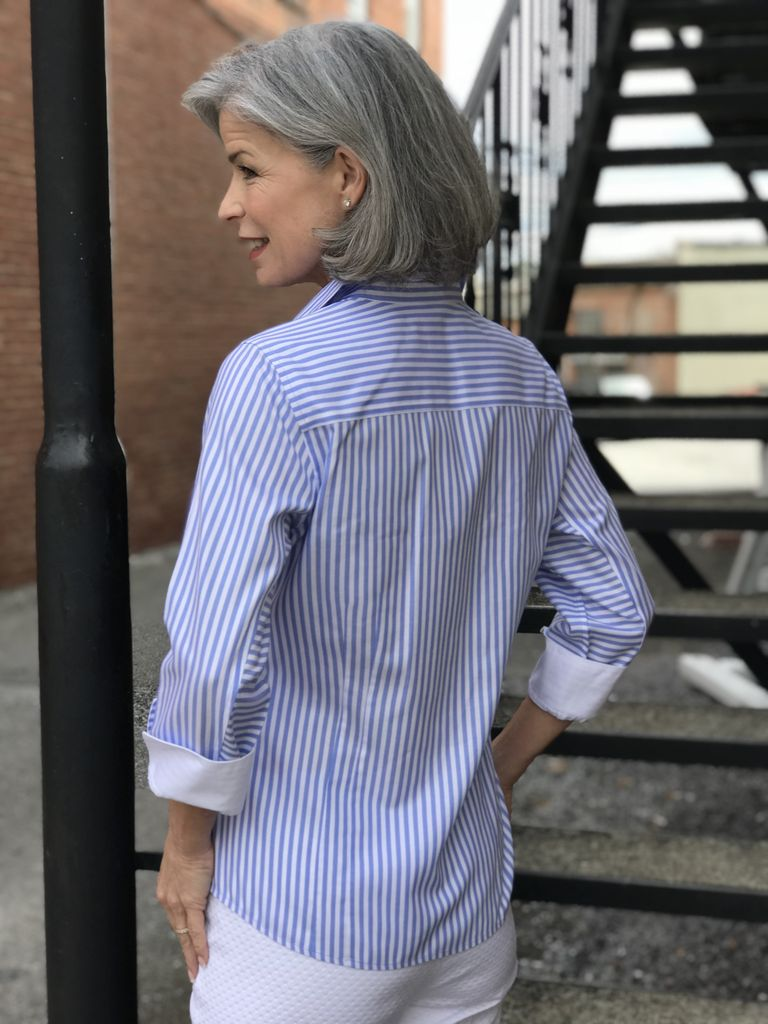 Foxcroft Taylor 3/4 Sleeve Striped Blouse by Foxcroft
