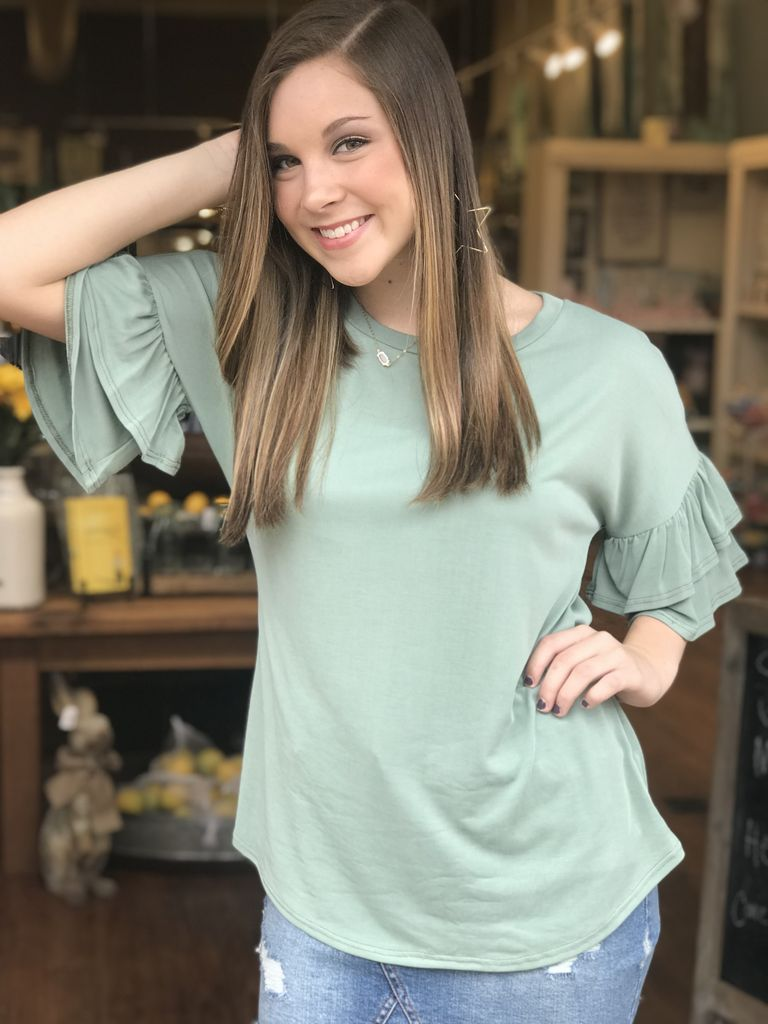 Before You Collection Modal Ruffle Short Sleeve Top