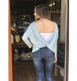 Before You Collection Solid Long Sleeve Open Back Top