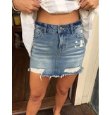 Vintage Havana Medium Wash Denim Frayed Mini Skirt