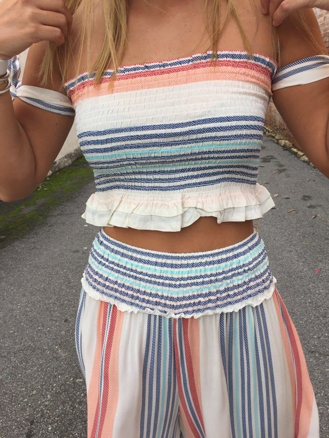 Vintage Havana Multi Weave Stripe Print Smock Bodice Tie Sleeve Top