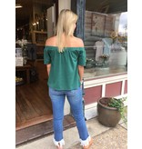 House Of Quirky Off the shoulder tee, tropical teal