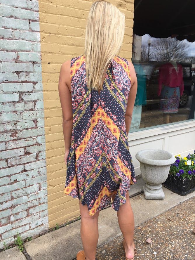 Umgee Pleated Multi Print Dress With Front and back keyholes