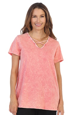 Jess & Jane Coral Mineral Criss Cross Top