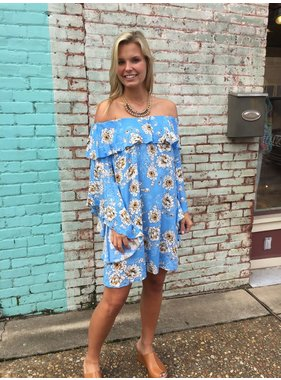 Umgee Off Shoulder Floral Print Dress With Trumpet Sleeves