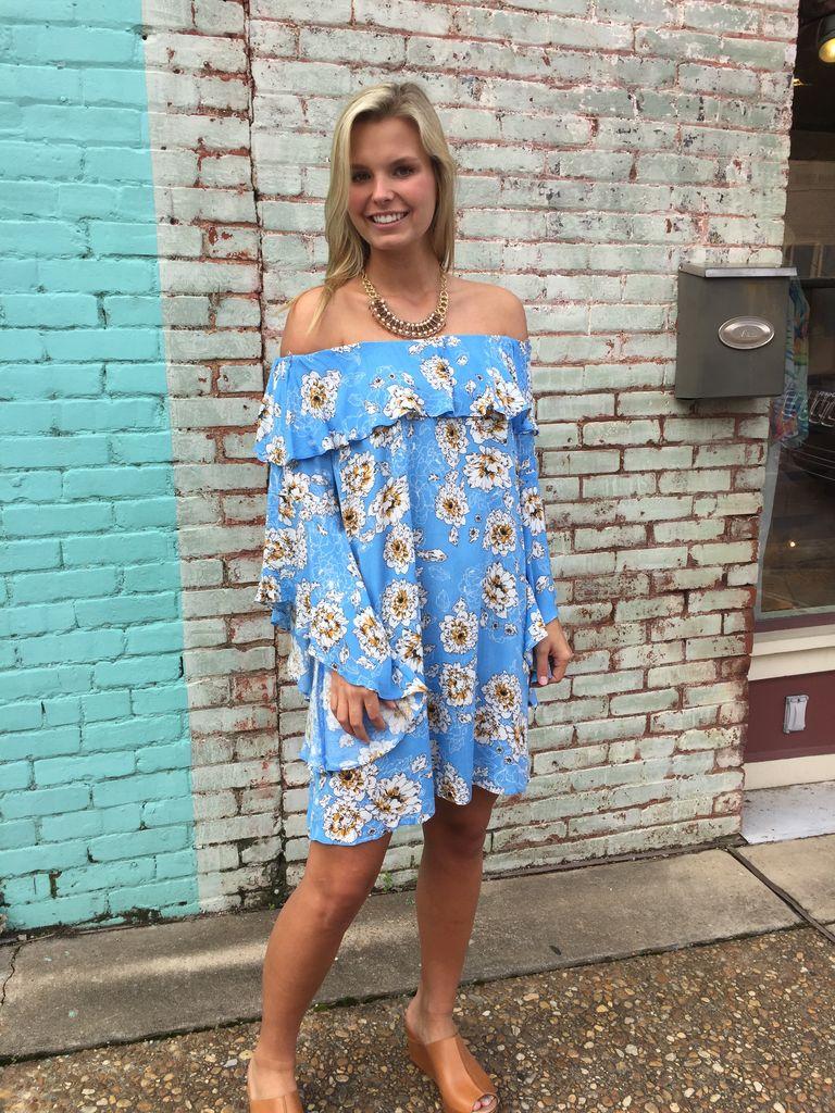 Umgee Off Shoulder Floral Print Dress With Trumpet Sleeves
