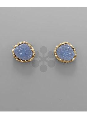 Golden Stella Druzy Oval Post Earring
