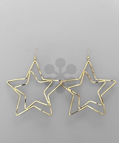Golden Stella Cutout Double Star Earring