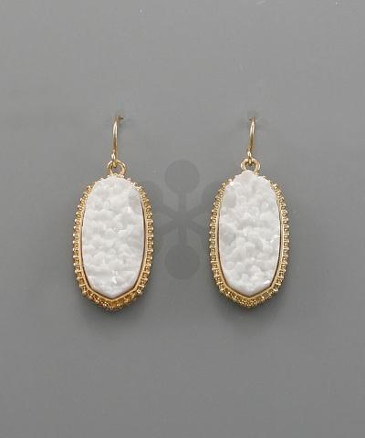 Golden Stella Druzy Hexagon Earrings