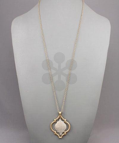 Golden Stella Double Quatrefoil Necklace