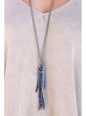 Caroline Hill Pect Suede and chain necklace with Crystal beaded tassel