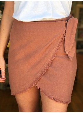 By Togeher Linen MId Rise Bow Tie Wrap Mini Skirt
