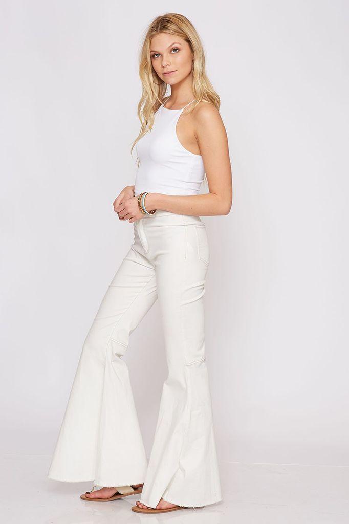 Peach Love California Solid Woven Pants - Cream