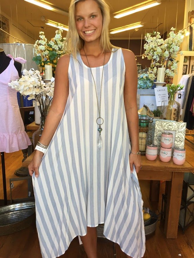 Before You Collection Striped Midi Dress with asymmetrical hem