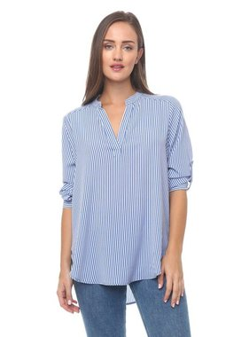 Timing Striped Top with Roll Tab Sleeves