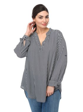 Timing V-Neck Striped Roll-Tab Sleeve Top - Plus