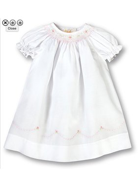 Rosalina Pink English Smocked White Girl Daygown