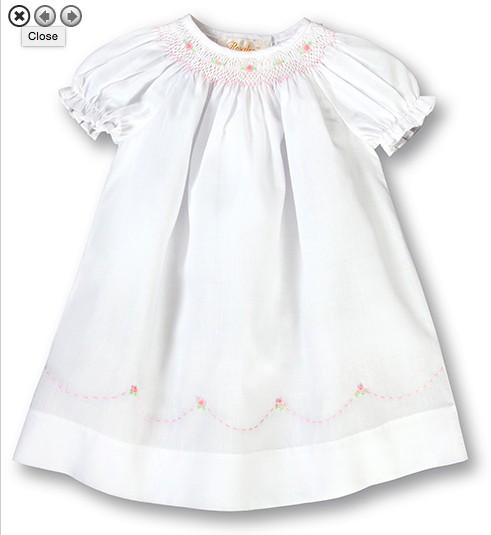 Rosalina Pink English Smocked White Girl Daygown