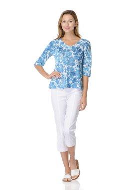 Habitat Turquoise Floral Haci Knit Easy Tunic