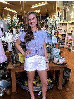 Peach Love California Dusty Blue Crop Tee