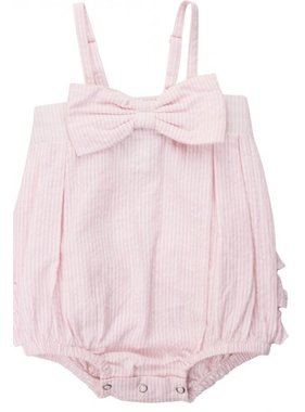 Ruffle Butts Pink Seersucker Bow Front Bubble Romper