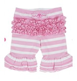 Ruffle Butts Pink Stripe Ruffle Bermuda Shorts