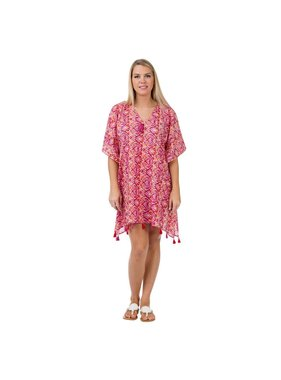 Top It Off Cindy Cover Up - Hot Pink Tribal - One Size