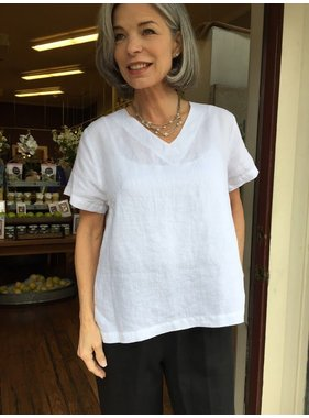 Mosaic Clothing Basic V-Neck Linen Top by Mosaic Clothing