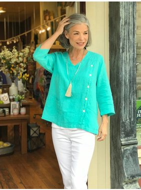 Mosaic Clothing V-Neck Linen Side Button Blouse by Mosaic Clothing
