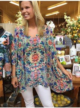 Adrienne Starburst Print V Neck Tunic