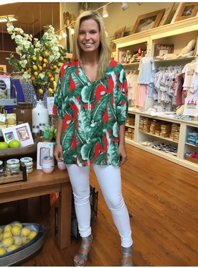 Adrienne Tropical Print V-Neck Tunic