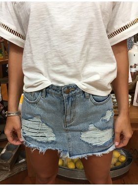 House Of Quirky Trash Talk Denim Skort
