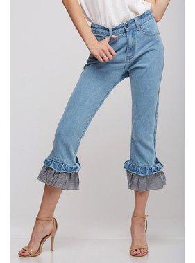 Peach Love California Denim Pants with Gingham Check Ruffle