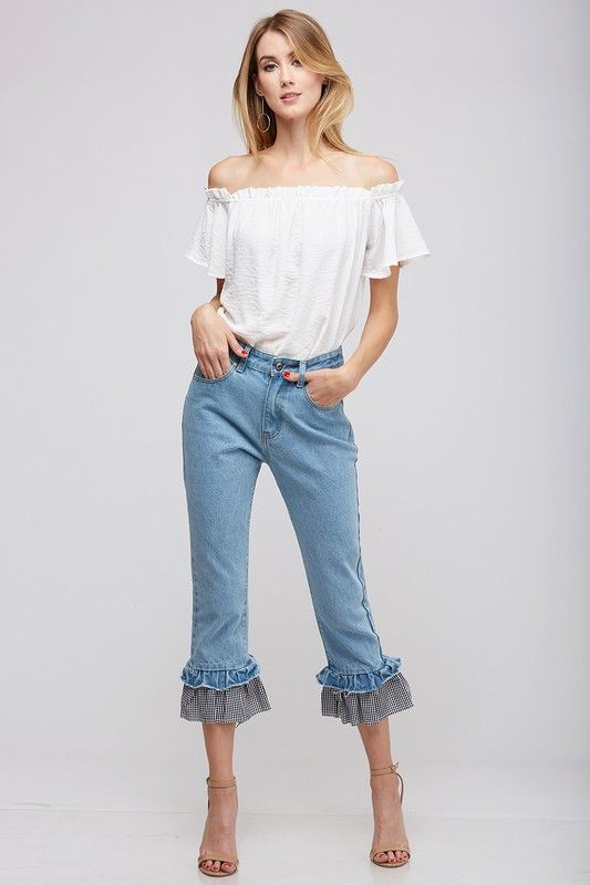 Peach Love California Denim Pants with Gingham Check Ruffle
