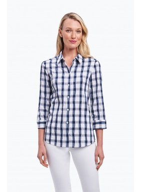 Foxcroft Sue 3/4 Sleeve Crinkle Blouse