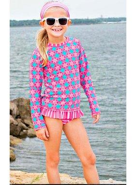 Ruffle Butts Salt Water Taffy Long Sleeve Rash Guard Bikini by Ruffle Butts