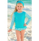 Ruffle Butts Aqua Striped Polka Long Sleeve Rash Guard Bikini by Ruffle Butts