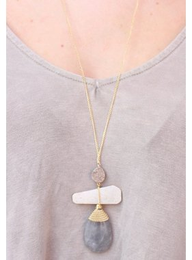 Caroline Hill Callick Triple Stone and Druzy Pendant Necklace