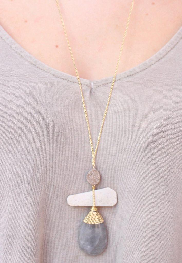 Caroline Hill Callick Triple Stone and Druzy Pendant Necklace