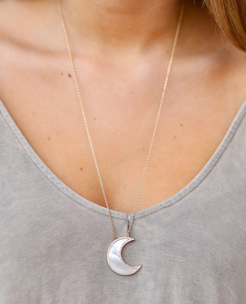 Caroline Hill Crescent Shell Mother Of Pearl Pendant Necklace