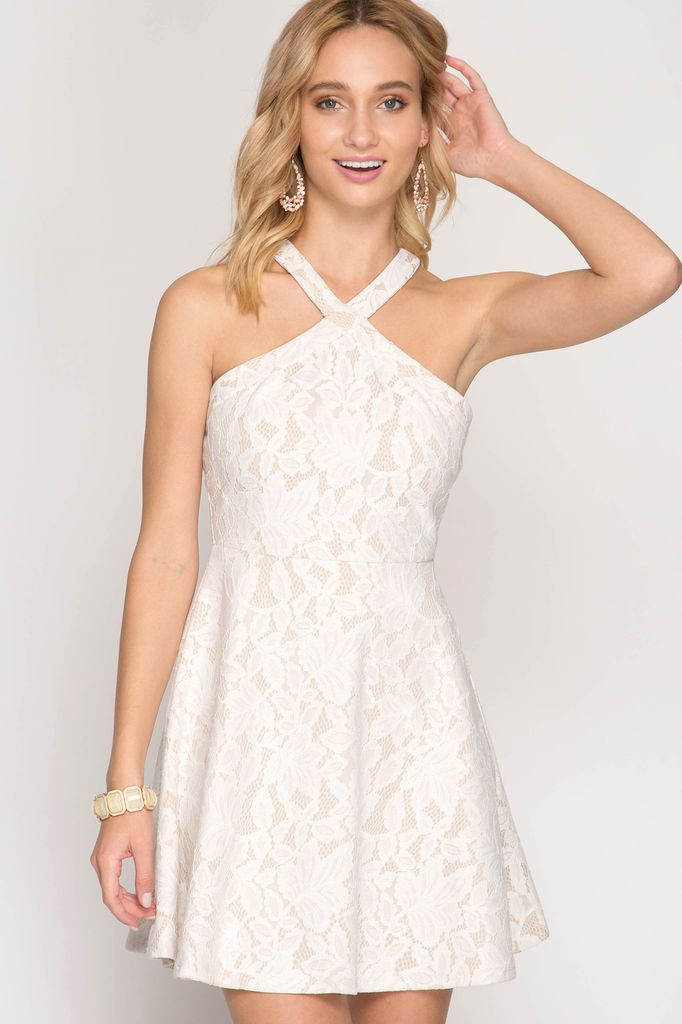 She + Sky Halter Lace Fit and Flare Dress