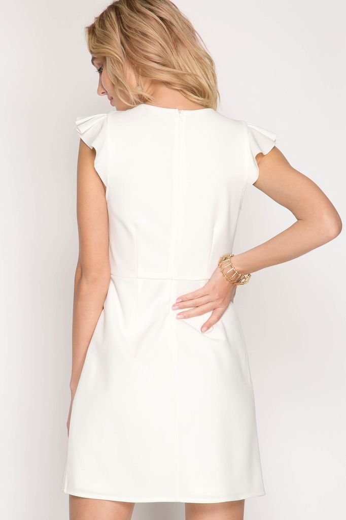She + Sky Short Ruffle Sleeve Dress